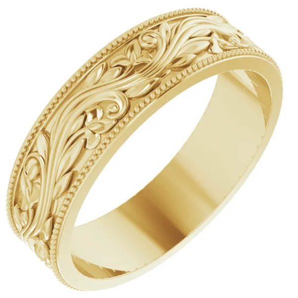 Men's 14K Gold Sculptured Paisley Wedding Band Ring