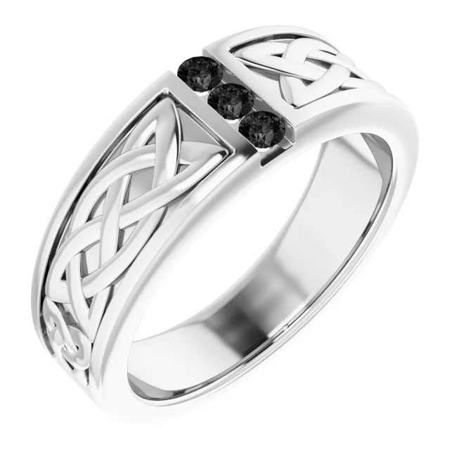 Men's Three Stone Black Diamond Celtic Wedding Band Ring