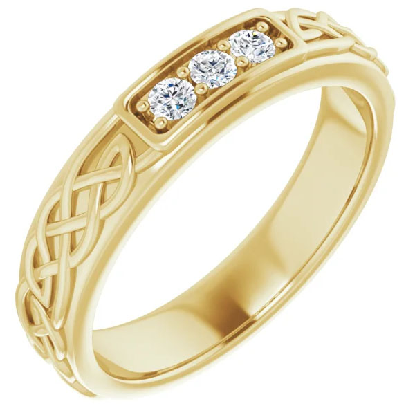 Men's Three-Stone Diamond Celtic Wedding Band Ring