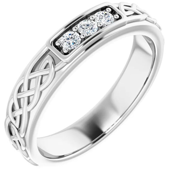 Men's 14K White Gold Celtic Three Stone Diamond Wedding Band