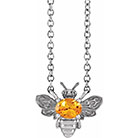 Orange Garnet Bee Necklace in 14K White Gold