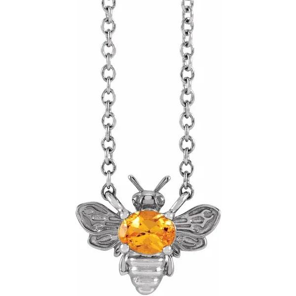 Orange Garnet Bee Necklace in 14K White Gold