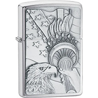 Patriotic Eagle Zippo Lighter in Brushed Chrome