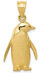Penguin Charm Pendant, 14K Gold