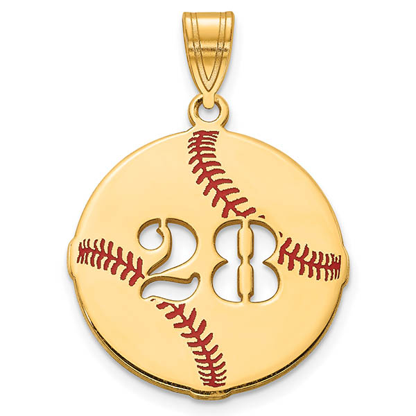Personalized 14K Gold Baseball Necklace Pendant with Number
