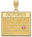 Personalized 14K Gold Calendar Pendant with Birthstone