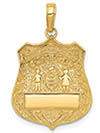 Personalized 14K Gold Engravable Police Badge Pendant