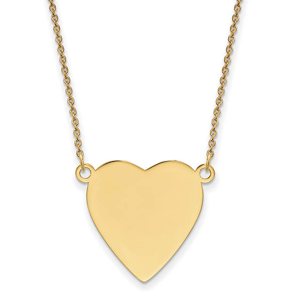 Personalized Engravable Heart Charm Necklace in 14K Gold