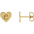 Personalized, Engravable Heart Stud Earrings, 14K Gold