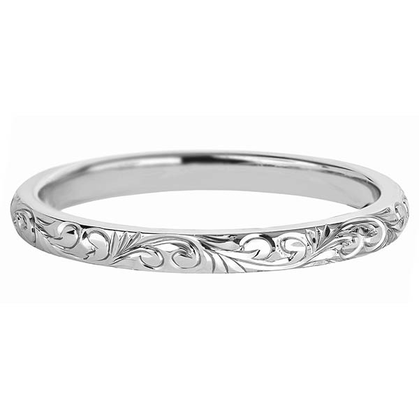 Petite Etched 2mm Paisley Wedding Band Ring