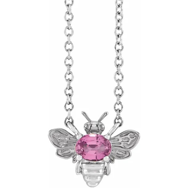 Pink Sapphire Bee Necklace, 14K White Gold