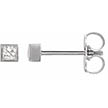 Square Princess-Cut Bezel-Set Diamond Stud Earrings, 14K White Gold