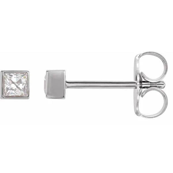 Square Princess-Cut Bezel-Set Diamond Stud Earrings in 14k White Gold