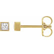 1/6 Carat Princess-Cut Bezel-Set Stud Earrings, 14K Gold