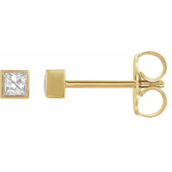 1/6 Carat Princess-Cut Bezel-Set Stud Earrings, 14K Gold