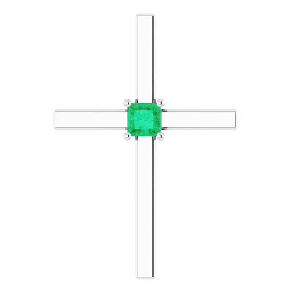 Princess-Cut Emerald Cross Necklace in 14k White Gold