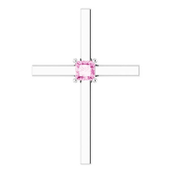 Princess-Cut Pink Sapphire Cross Necklace, 14K White Gold