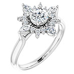 Radiant Diamond Marquise Halo Engagement Ring, 14K White Gold