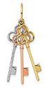Set of 3 14K Tri-Color Gold Key Necklace Pendant