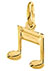 Double Sixteenth Note Music Pendant, 14K Gold