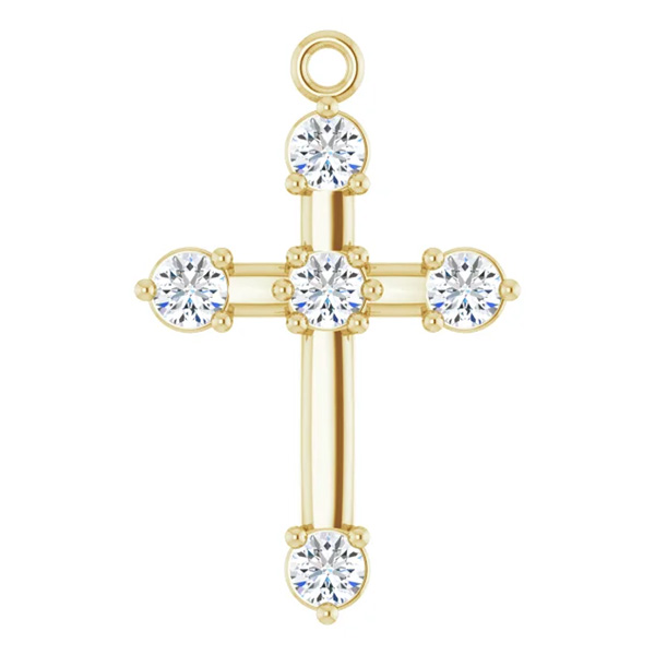Small 1/6 Carat Diamond Cross Dangle Charm, 14K Gold