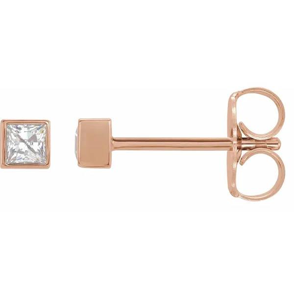 14K Rose Gold Square Princess-Cut Diamond Stud Earrings