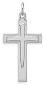 Sterling Silver Men's Sword Cross Necklace Pendant
