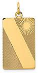 Sun Design Engravable Rectangular Disc Pendant, 14K Gold