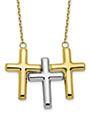 Three Crosses Necklaces in 10K Two-Tone Gold