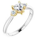5/8 Carat Three-Stone Heart-Shaped Diamond Engagement Ring, 14K Two-Tone Gold