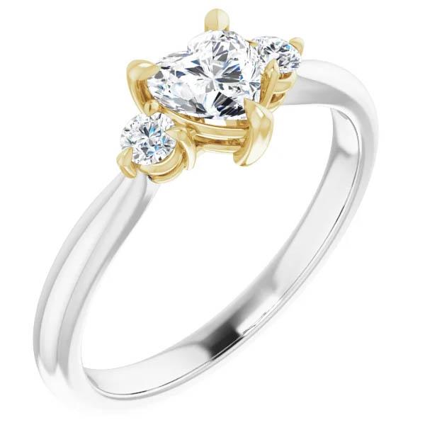 5/8 Carat Three-Stone Heart-Shaped Diamond Engagement Ring, 14K Two-Tone Gold