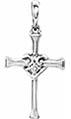 Vintage-Style 14K White Gold Diamond Heart Cross Pendant
