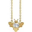White Sapphire Bee Necklace, 14K Yellow Gold
