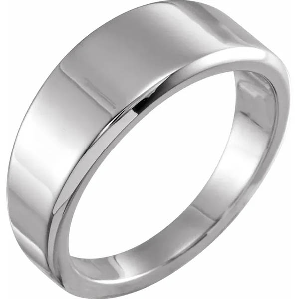 Women's Sterling Silver Tapered 8mm Wide Plain Band