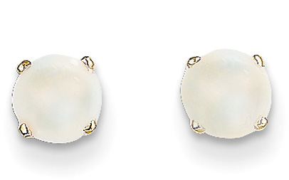 14K Gold 5mm Opal Stud Earrings