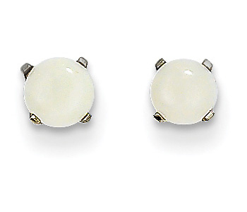 4mm Opal Stud Earrings, 14K White Gold