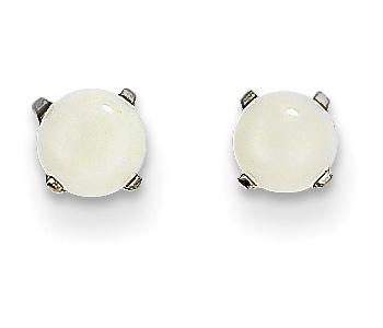 4mm Opal Stud Earrings, 14K White Gold