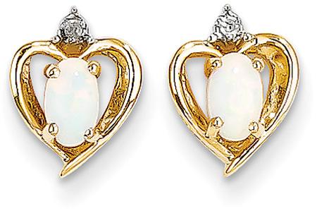 14K Gold Opal Heart Earrings