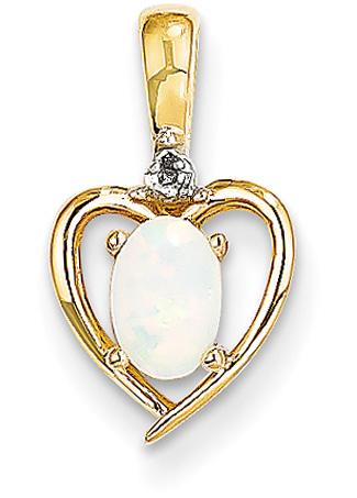 14K Gold Opal Heart Pendant