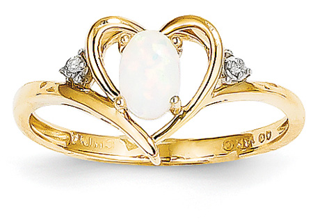14K Gold Opal Heart Ring