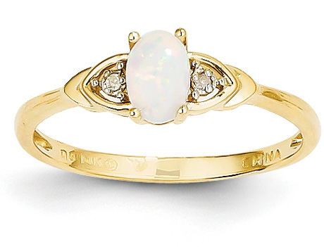 14K Gold Opal and Diamond Ring