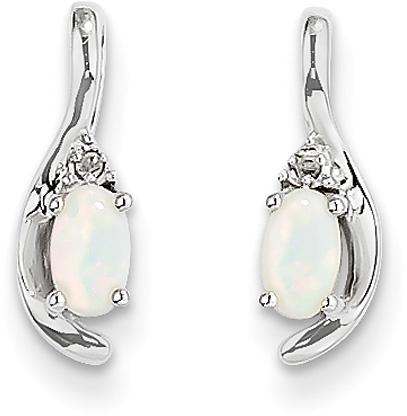 Oval-Cut Opal and Diamond Earrings, 14K White Gold