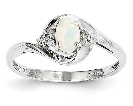 Oval Opal and Diamond Ring, 14K White Gold