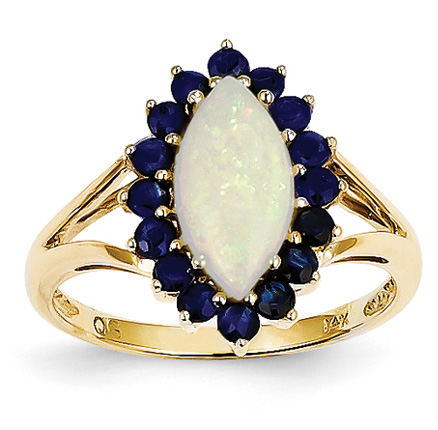Opal and Sapphire Ring, 14K Gold