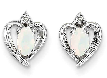 Opal Heart Earrings, 14K White Gold