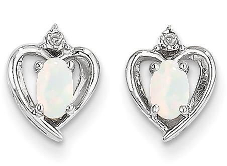 Opal Heart Earrings, 14K White Gold