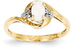 Opal and Diamond Cluster Ring, 14K Yellow Gold