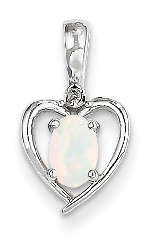 Real Opal Heart Pendant, 14K White Gold