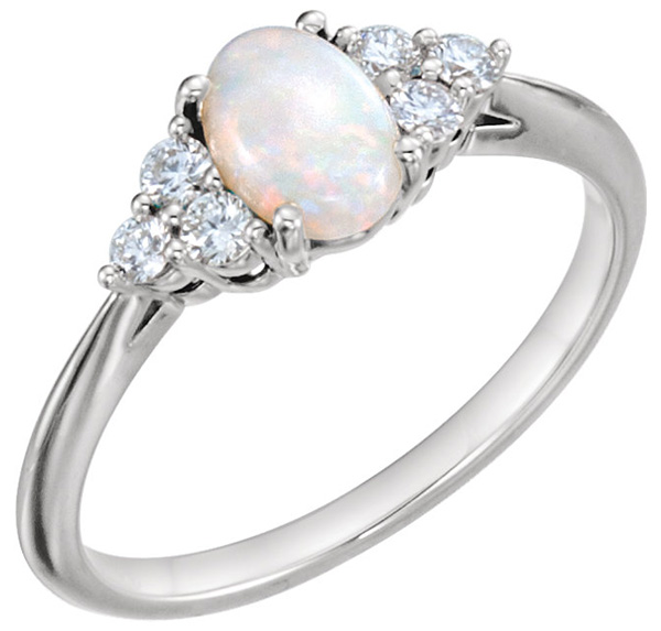 Australian Opal and Diamond Trinity Ring