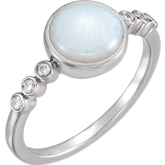 Australian Opal Cabochon and Diamond Ring